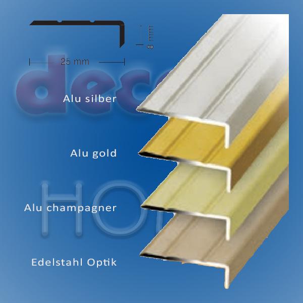 Winkelprofil quickFIX zum kleben 270 x 2,5 x 0,8 cm - Edelstahl optik