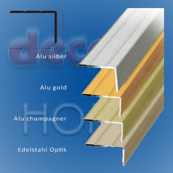 Winkelprofil quickFIX zum kleben 100 x 2,5 x 2,0 cm - Alu silber